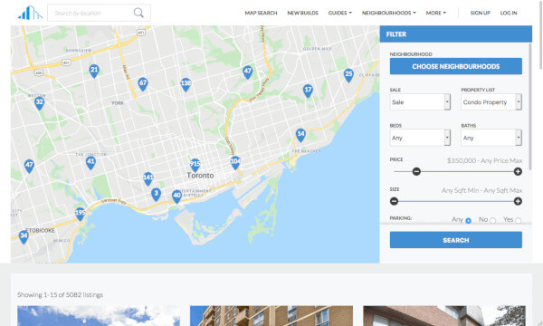 The RealEstateCondos.ca map search