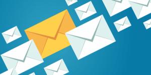 Envelopes hovering over an indigo background