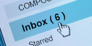 "A screenshot of an email account, focused on ""Inbox (6)"""