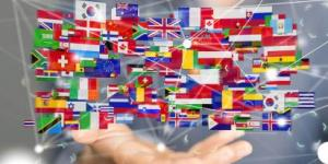 Flags of the world represented with digital connections